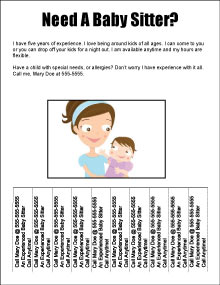 Tear Off Babysitting Flyer Template - Babysitting flyer template microsoft word free