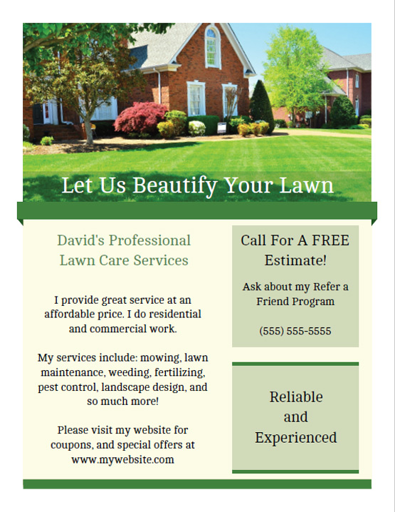 printable lawn care business flyer templates