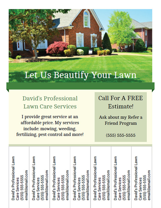 Printable lawn care business flyer templates for Landscaping flyers templates