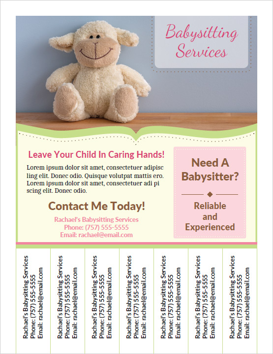 Printable babysitting flyers for Babysitting poster template