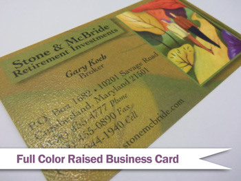 Raised business cards common questions answered full color raised print business card colourmoves