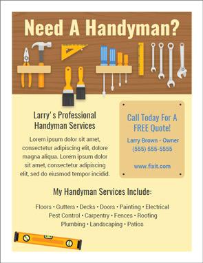 Best handyman flyers for sale for Handyman business plan pdf