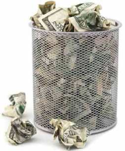 Money in the trash can